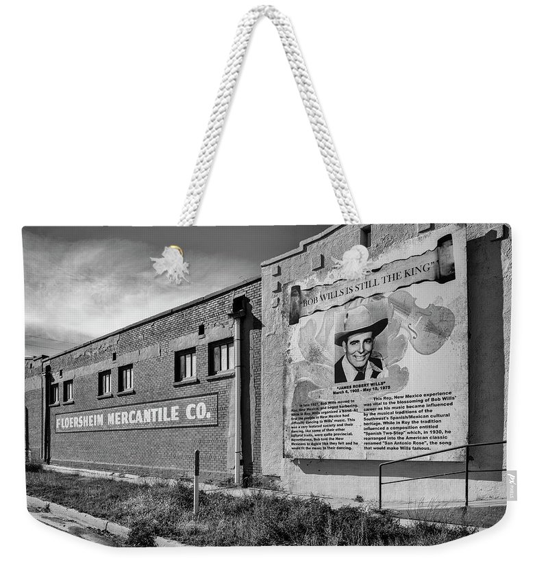 Bob Wills Weekender Tote Bag featuring the photograph Country Legend Bob Wills In Roy New Mexico by Mary Lee Dereske