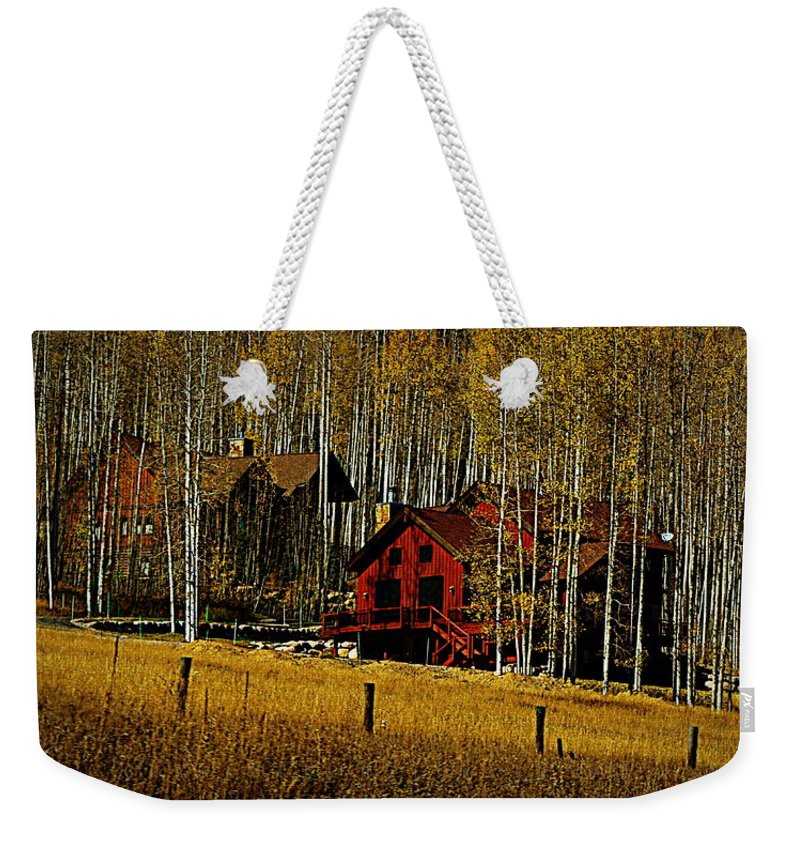 Cabins Weekender Tote Bag featuring the digital art Country Living by Charlotte McIlrath