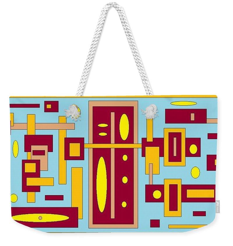 Digital Blue Yellow Artwork Weekender Tote Bag featuring the digital art Country Mood by Jordana Sands