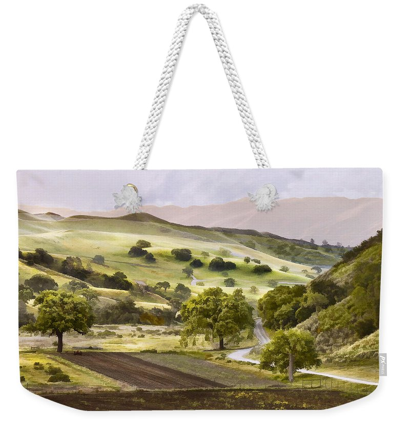 California Weekender Tote Bag featuring the digital art Country Morning by Sharon Foster