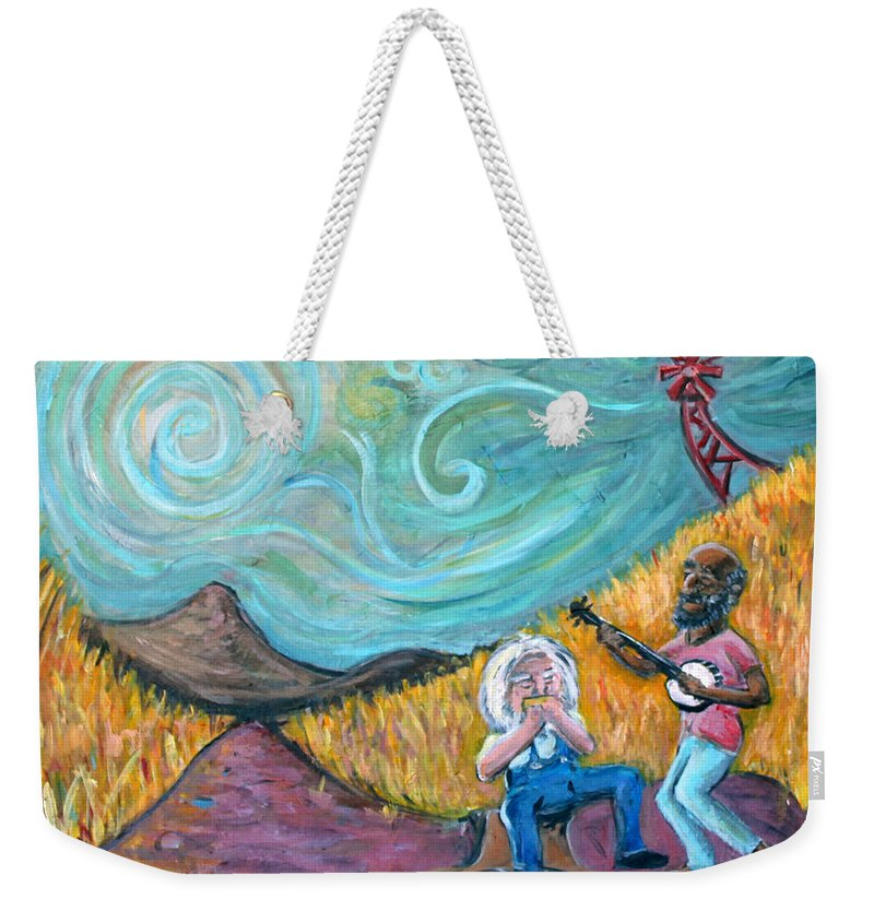 Country Music South Old Man Banjo Van Gogh Corn Field Weekender Tote Bag featuring the painting Country Music by Jason Gluskin