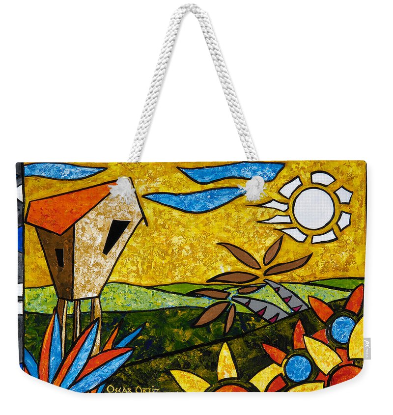 Puerto Rico Weekender Tote Bag featuring the painting Country Peace by Oscar Ortiz