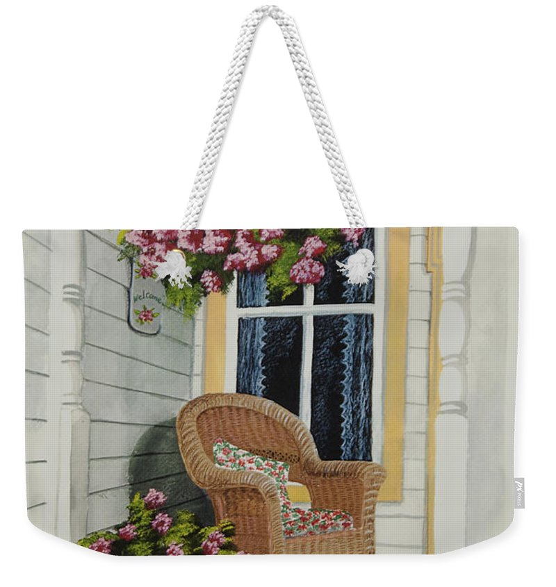 Country Porch Weekender Tote Bag featuring the painting Country Porch by Charlotte Blanchard