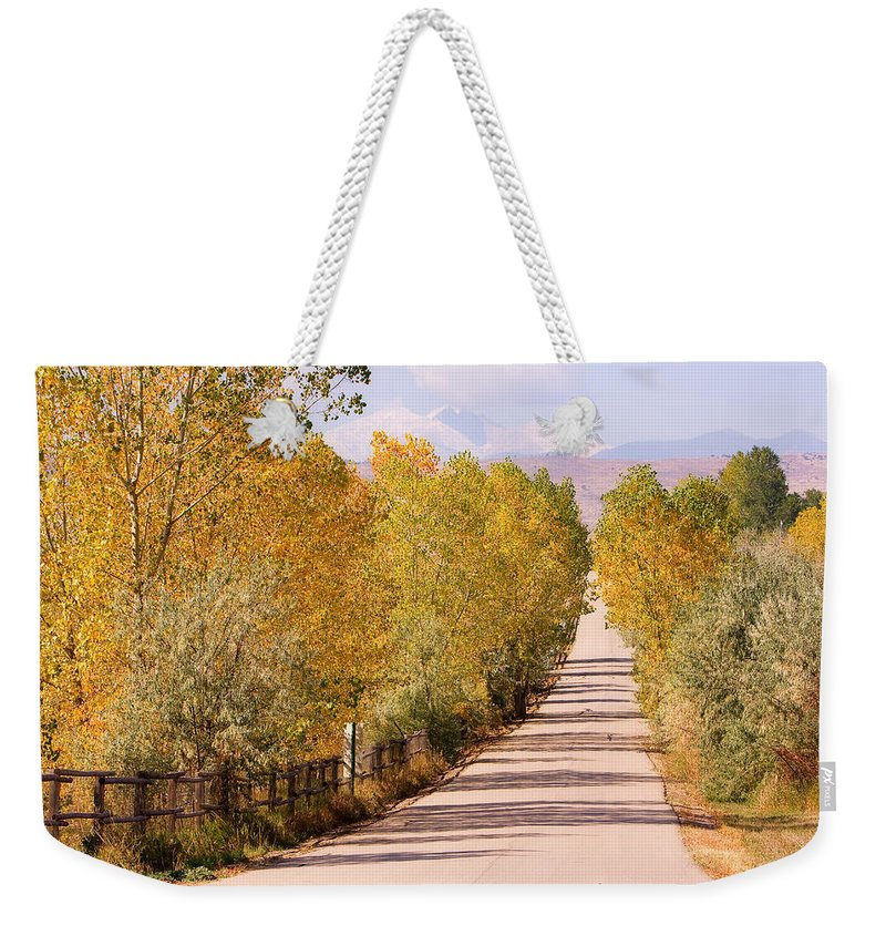 Longs Peak Weekender Tote Bag featuring the photograph Country Road Autumn Fall Foliage View Of The Twin Peaks by James BO Insogna