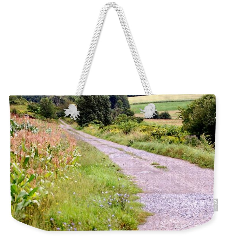 Old Barn Weekender Tote Bag featuring the photograph Country Road by David Lane
