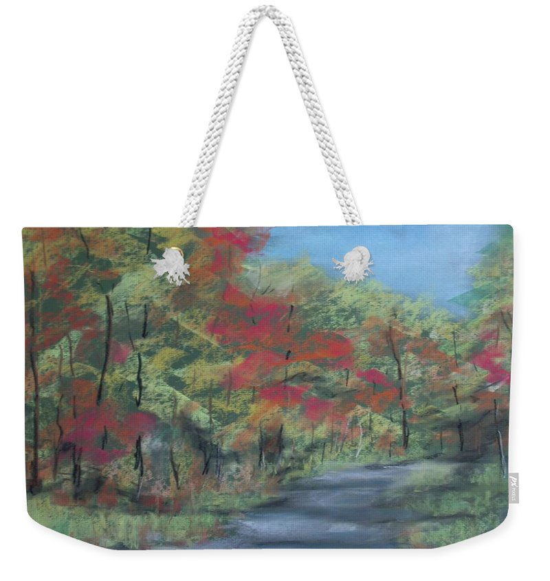 Landscape Weekender Tote Bag featuring the painting Country Road II by Pete Maier