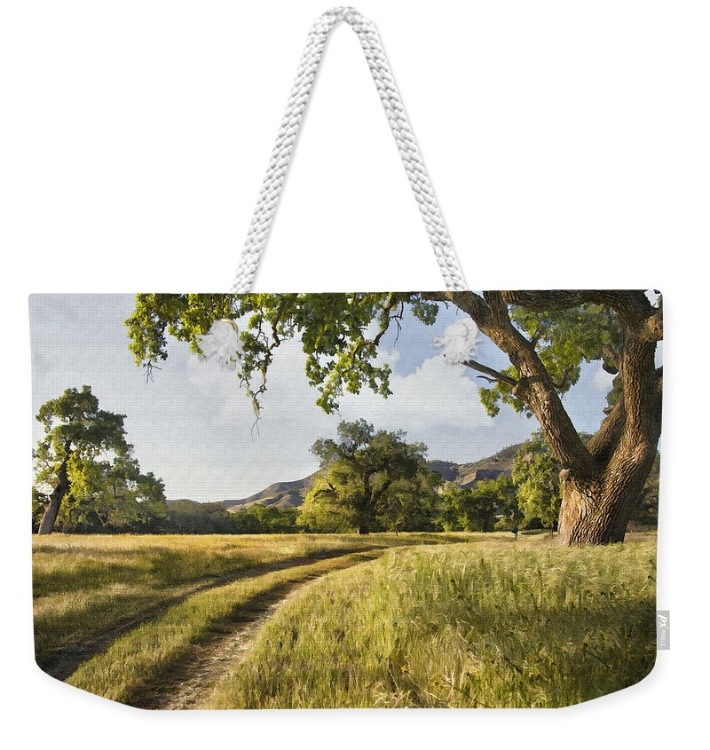 Landscape Weekender Tote Bag featuring the digital art Country Road by Sharon Foster