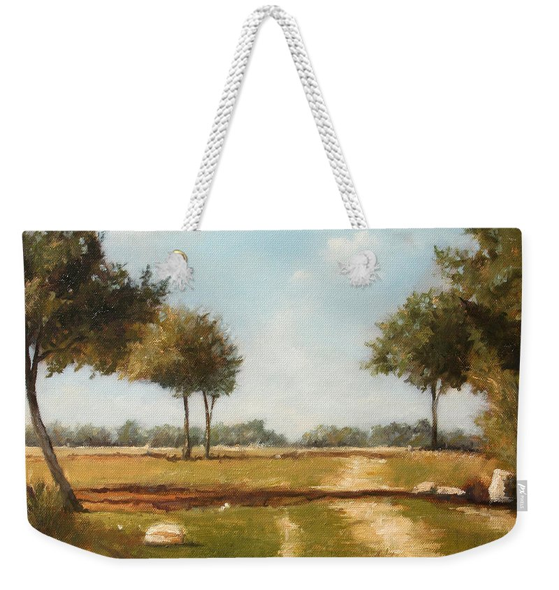 Landscape Weekender Tote Bag featuring the painting Country Road with Trees by Darko Topalski