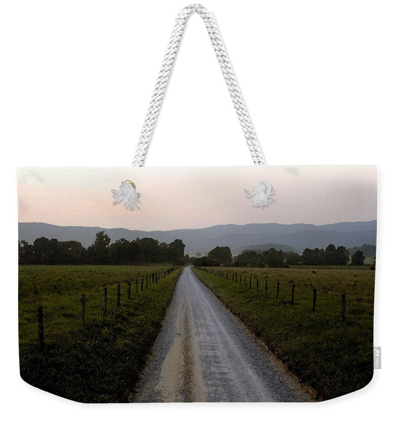 Country Road Weekender Tote Bag featuring the painting Country Roads Take Me Home by David Lee Thompson