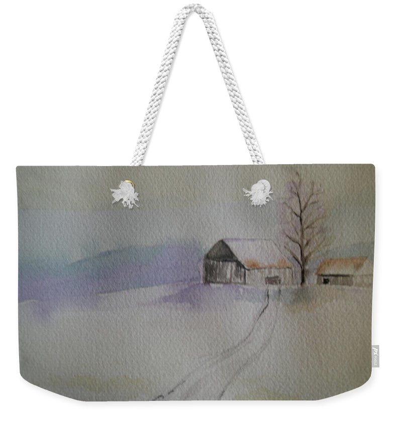 Barn Snow Winter Tree Landscape Cold Weekender Tote Bag featuring the painting Country Snow by Patricia Caldwell