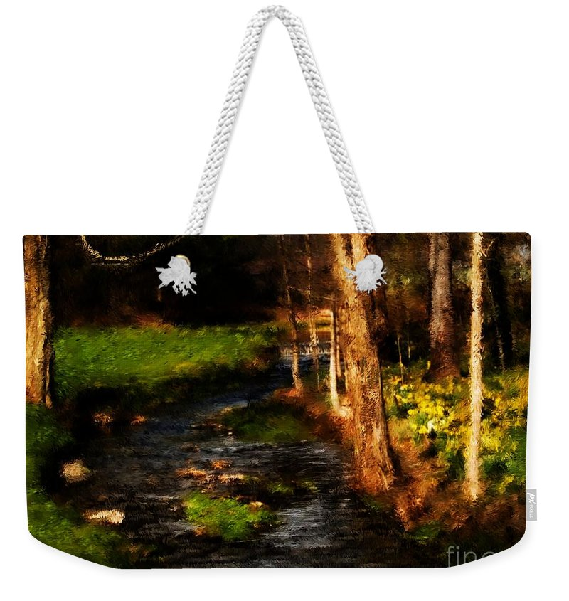 Digital Photo Weekender Tote Bag featuring the photograph Country Stream by David Lane