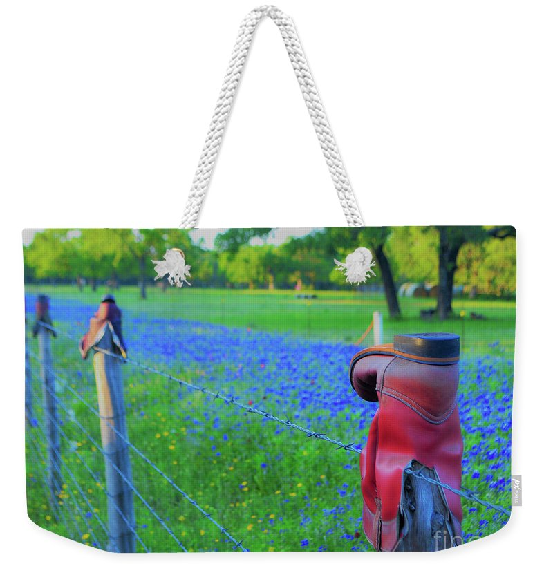 Texas Weekender Tote Bag featuring the photograph Country Western Blue Bonnets by Third Eye Perspectives Photographic Fine Art