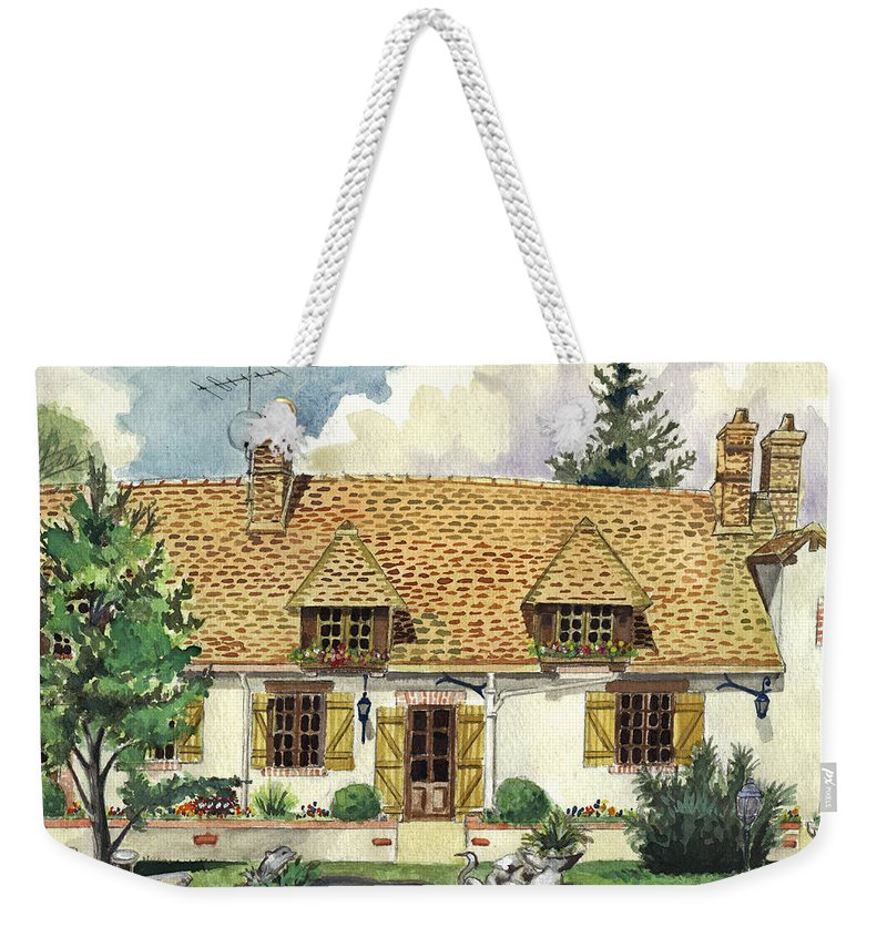 House Weekender Tote Bag featuring the painting Countryside House In France by Alban Dizdari