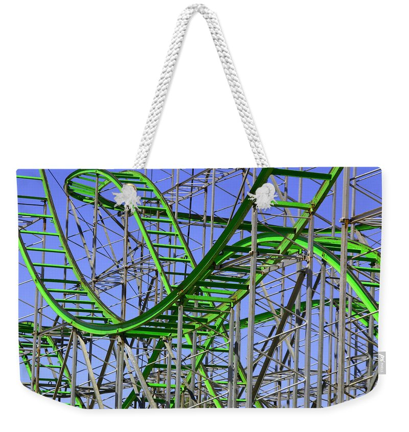 Green Weekender Tote Bag featuring the photograph County Fair Thrill Ride by Joe Kozlowski