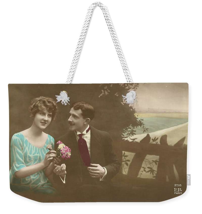 Weekender Tote Bag featuring the digital art Couple At Beach Colorized by Colleen Cornelius