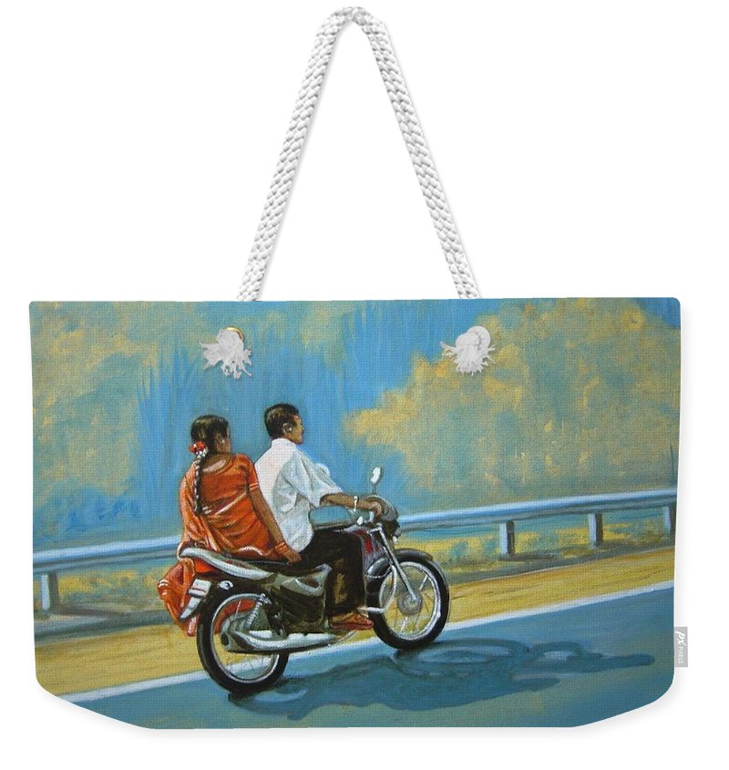 Couple Weekender Tote Bag featuring the painting Couple Ride On Bike by Usha Shantharam