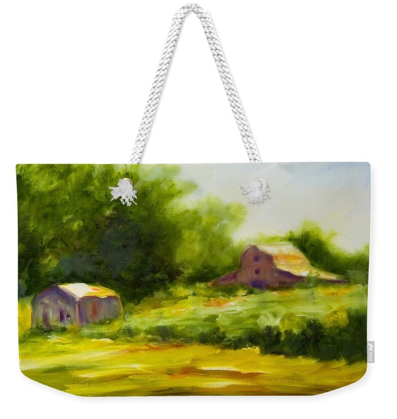 Landscape In Green Weekender Tote Bag featuring the painting Courage by Shannon Grissom