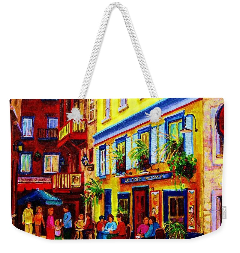 Courtyard Cafes Weekender Tote Bag featuring the painting Courtyard Cafes by Carole Spandau