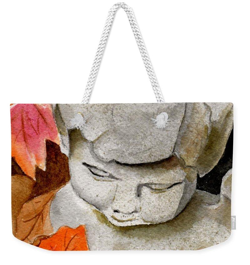 Watercolor Weekender Tote Bag featuring the painting Courtyard Cherub by Brenda Owen