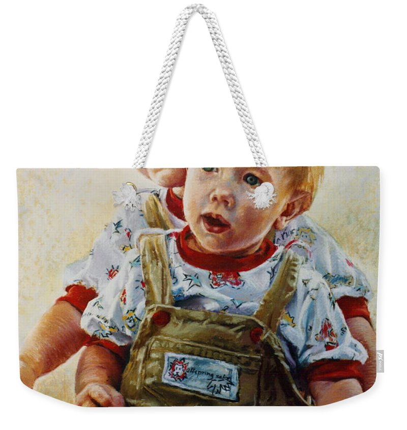Pastel Portrait Weekender Tote Bag featuring the pastel Cousins by Jean Hildebrant