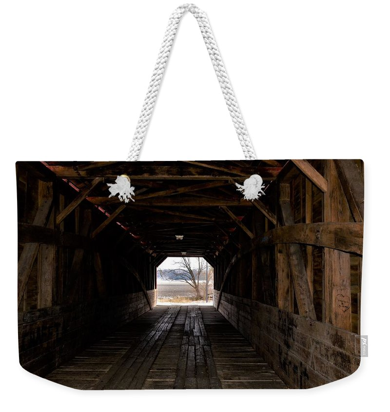 Covered Bridge Weekender Tote Bag featuring the photograph Covered Bridge by Dwight Eddington