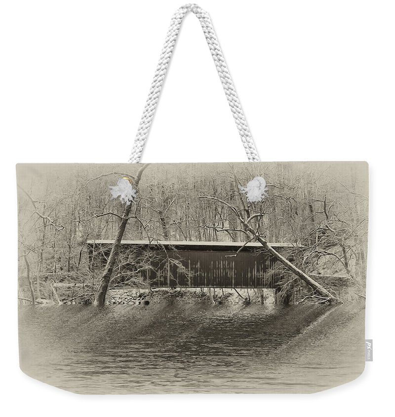 Philadelphia Weekender Tote Bag featuring the photograph Covered Bridge In Black And White by Bill Cannon