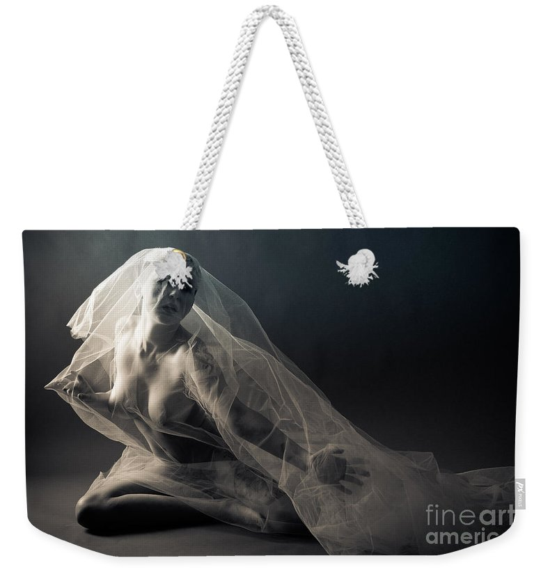 Position Weekender Tote Bag featuring the photograph Covered Nude by Jt PhotoDesign