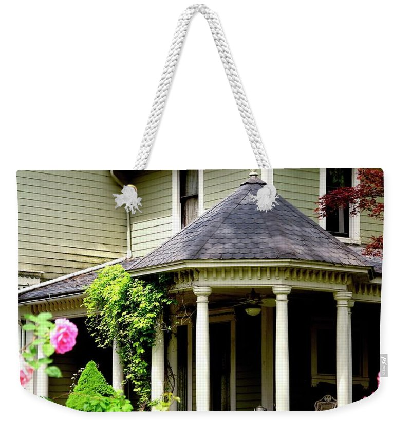Jerry Weekender Tote Bag featuring the photograph Covered Porch by Jerry Sodorff