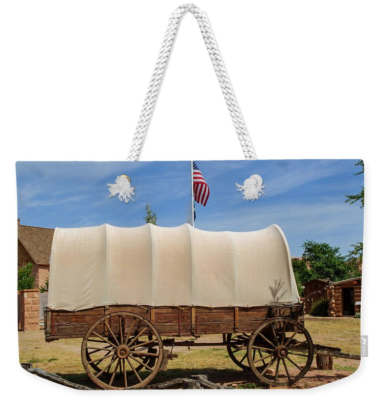 Covered Wagon Weekender Tote Bag featuring the photograph Covered Wagon At Fort Bluff by Tikvah's Hope