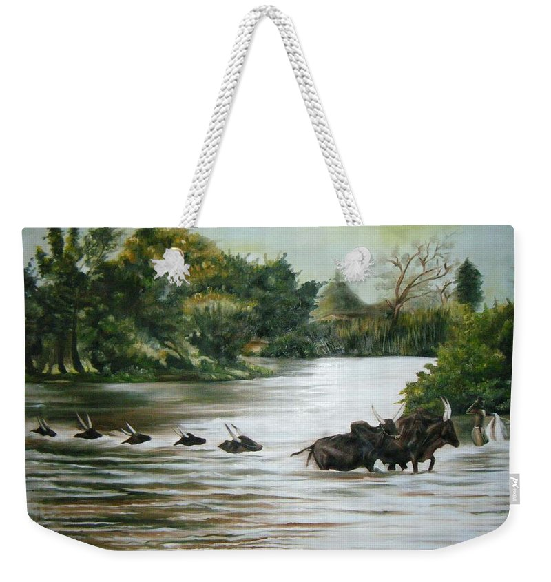 Cows Weekender Tote Bag featuring the painting Cow Habitant by Olaoluwa Smith