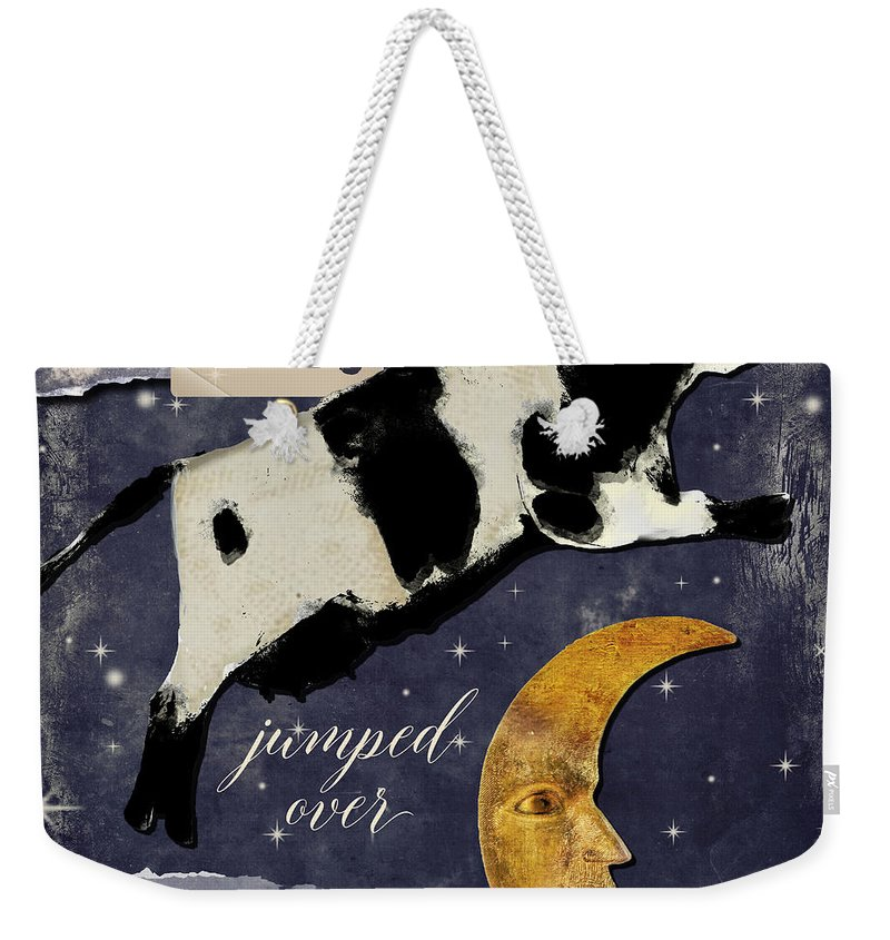Cow Weekender Tote Bag featuring the painting Cow Jumped Over The Moon by Mindy Sommers