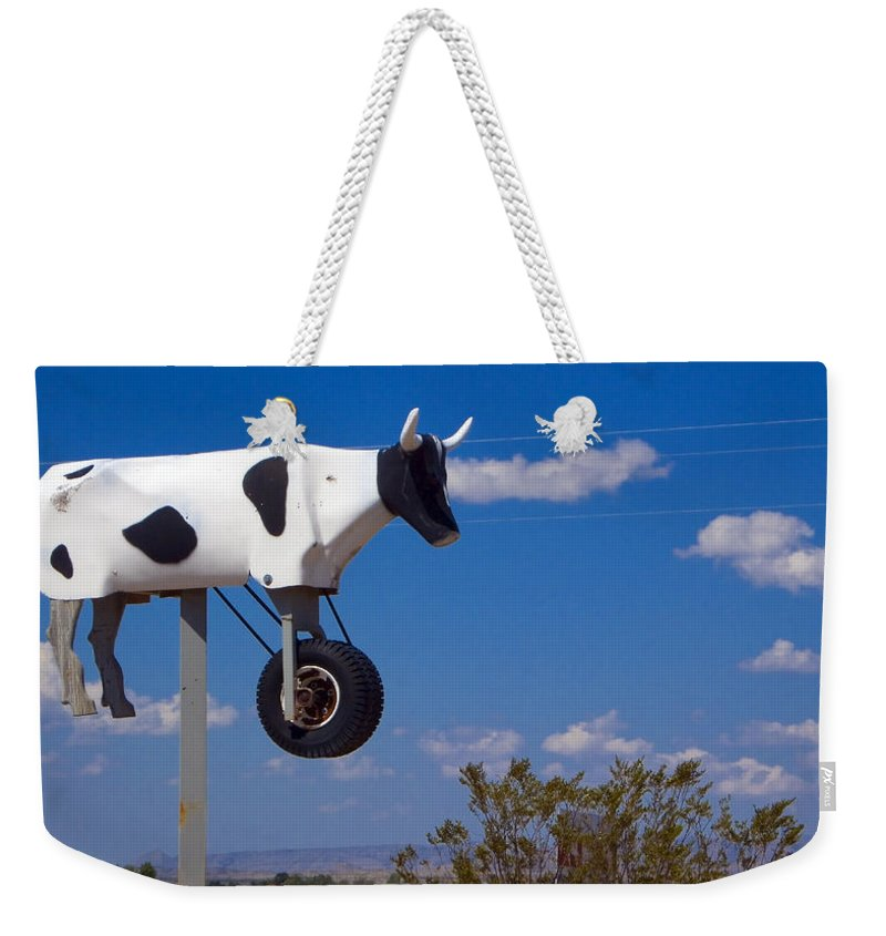Cow Weekender Tote Bag featuring the photograph Cow Power by Skip Hunt