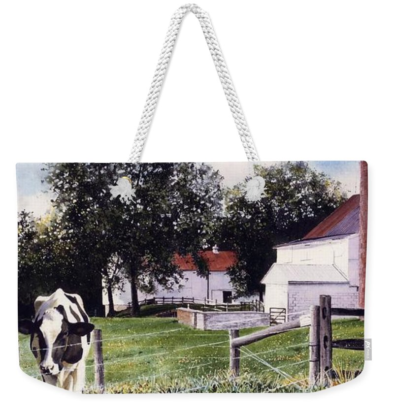 Cows Weekender Tote Bag featuring the painting Cow Spotting by Denny Bond