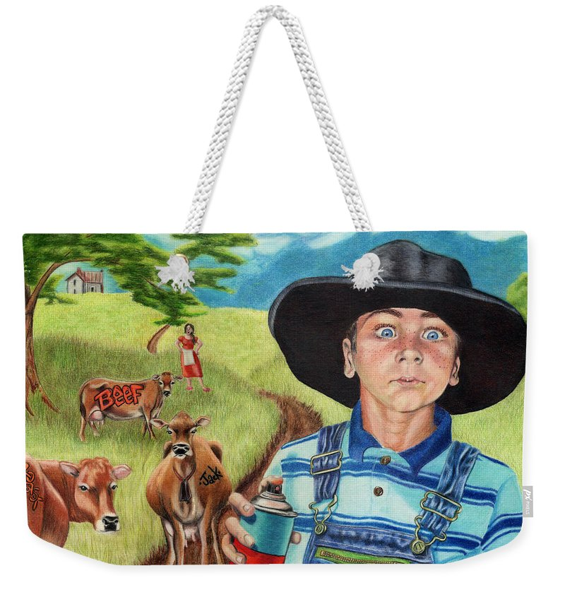 Cows Weekender Tote Bag featuring the drawing Cow Tagging by Jackie Little Miller