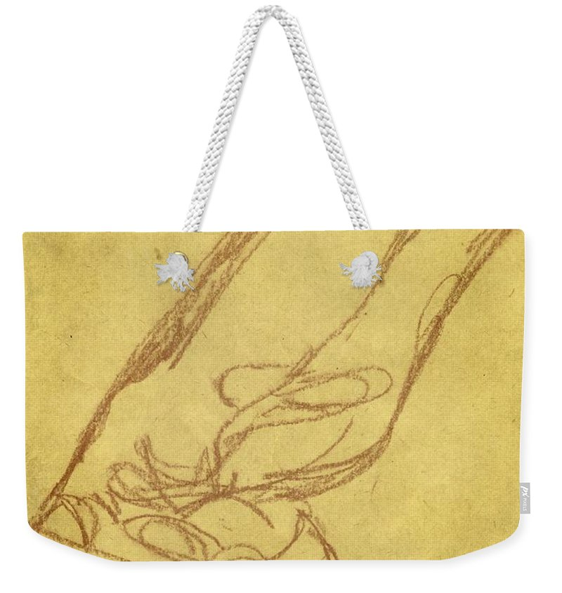 Cowboy Weekender Tote Bag featuring the drawing Cowboy Boot by Valerie Reeves