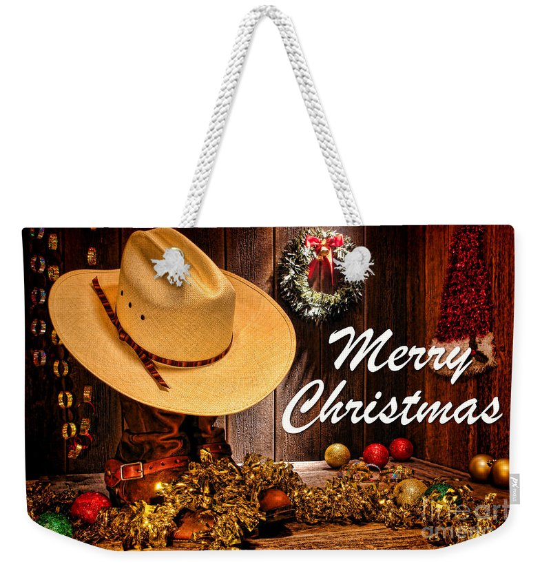 Merry Weekender Tote Bag featuring the photograph Cowboy Christmas Party - Merry Christmas by Olivier Le Queinec