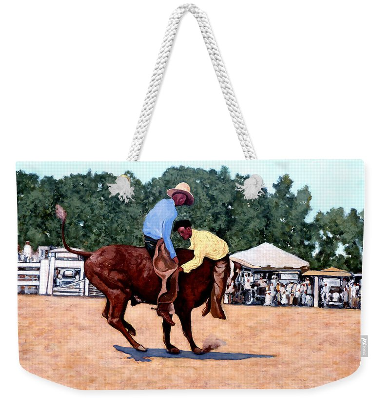 Bull Weekender Tote Bag featuring the painting Cowboy Conundrum by Tom Roderick