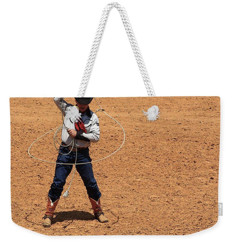 Western Art Weekender Tote Bag featuring the photograph Cowboy Entertainer by Kim Henderson