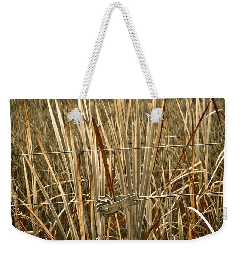 Americana Weekender Tote Bag featuring the photograph Cowboy Fence by Marilyn Hunt