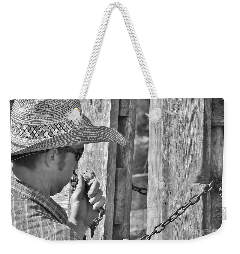 Ranch Life Weekender Tote Bag featuring the photograph Cowboy Life by Lisa Renee Ludlum