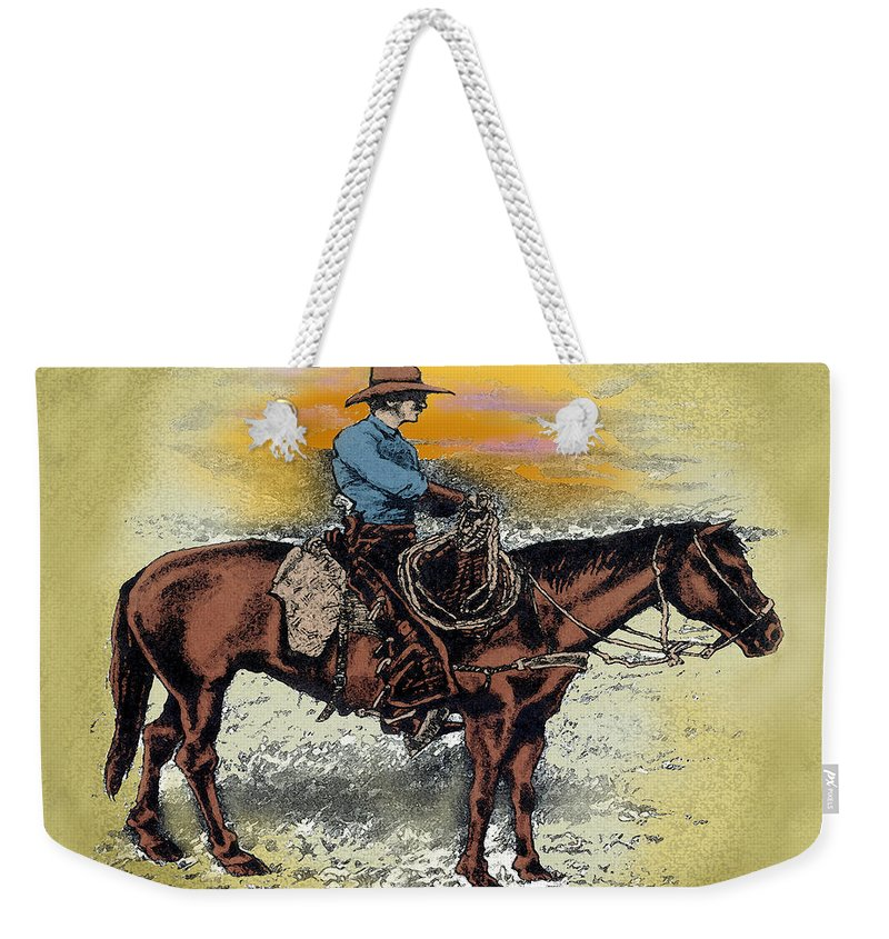 Cowboy Weekender Tote Bag featuring the painting Cowboy N Sunset by Kevin Middleton