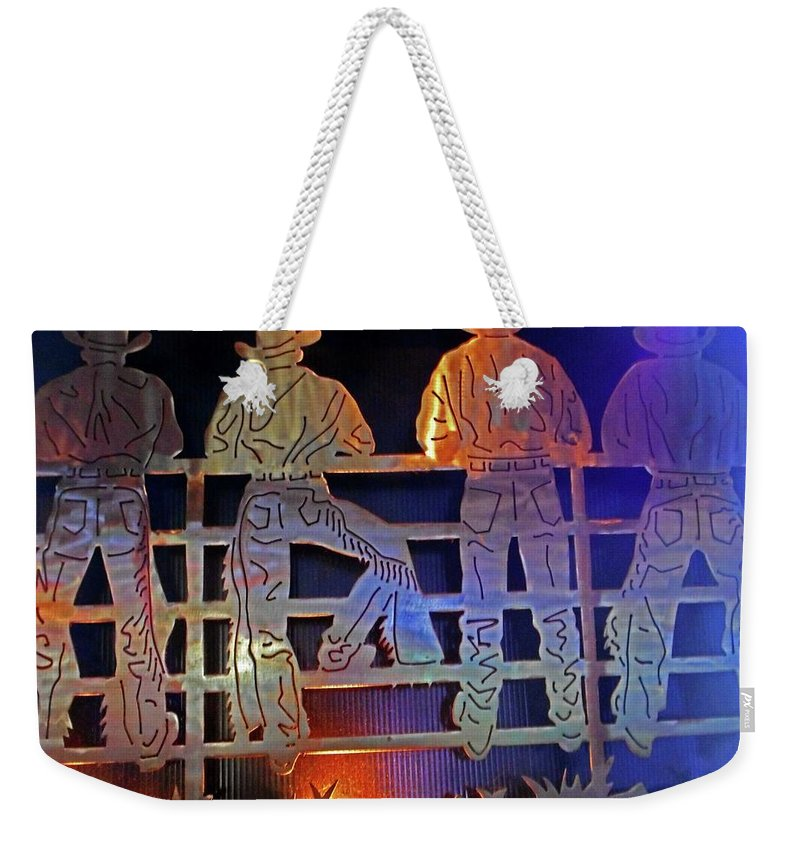 Nashville Weekender Tote Bag featuring the photograph Cowboys 1 by Ron Kandt