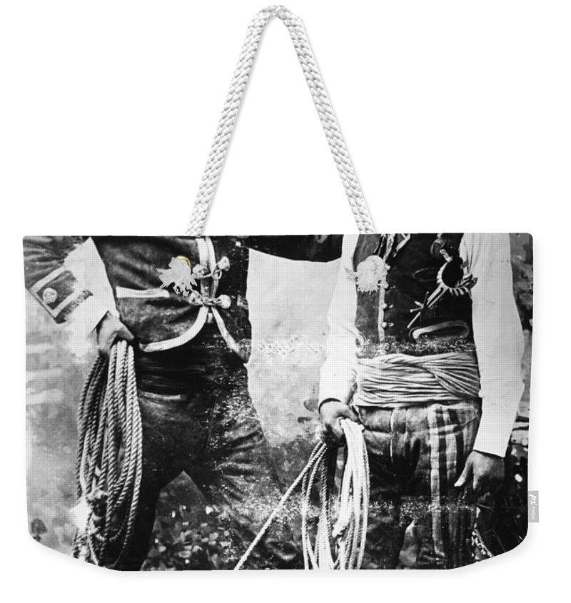 1900 Weekender Tote Bag featuring the photograph Cowboys, C1900 by Granger