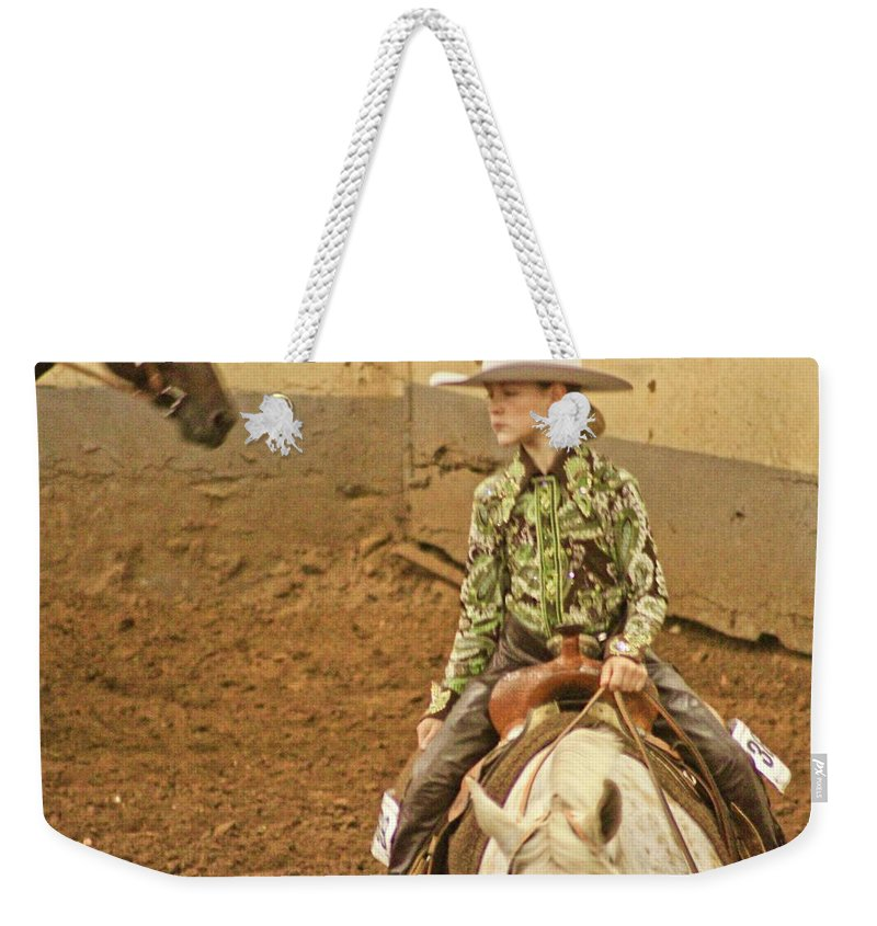 Culture Oklahoma America Weekender Tote Bag featuring the photograph Cowgirl by Mike Judice