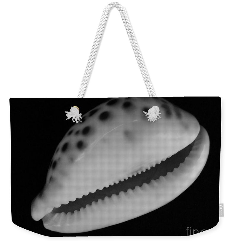 Mary Deal Weekender Tote Bag featuring the photograph Cowry Shell In Black And White by Mary Deal