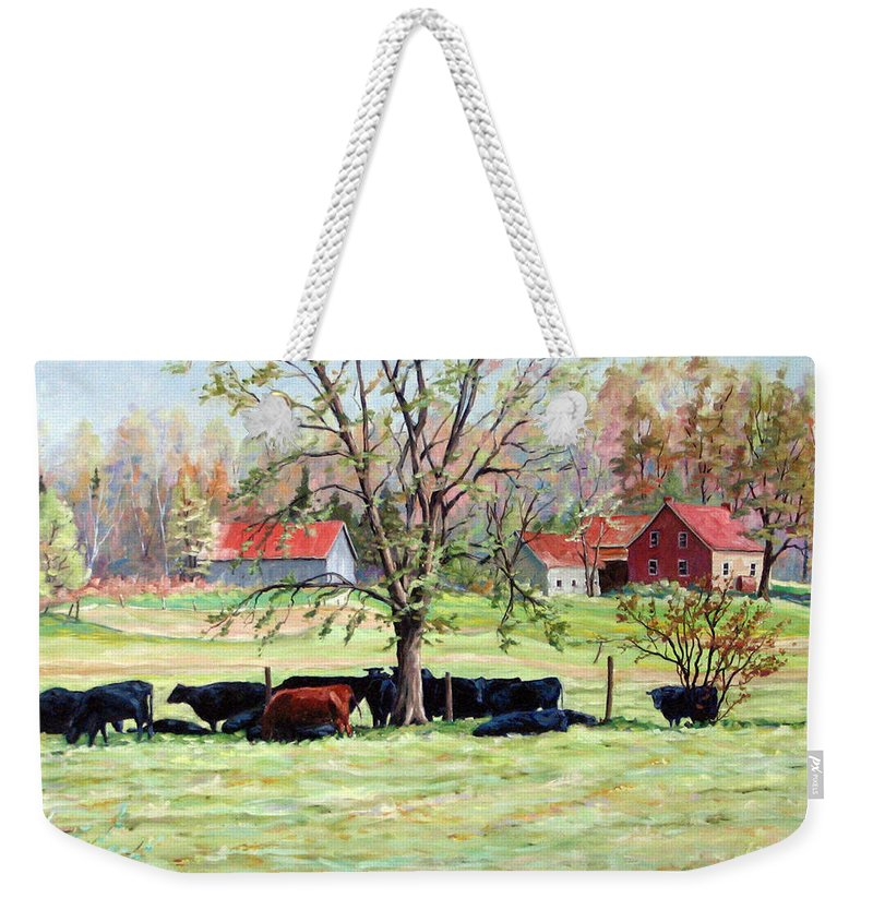 Cows Weekender Tote Bag featuring the painting Cows Grazing In One Field by Richard T Pranke