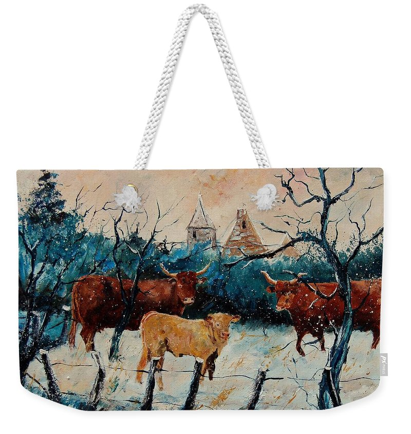 Animal Weekender Tote Bag featuring the painting Cows by Pol Ledent