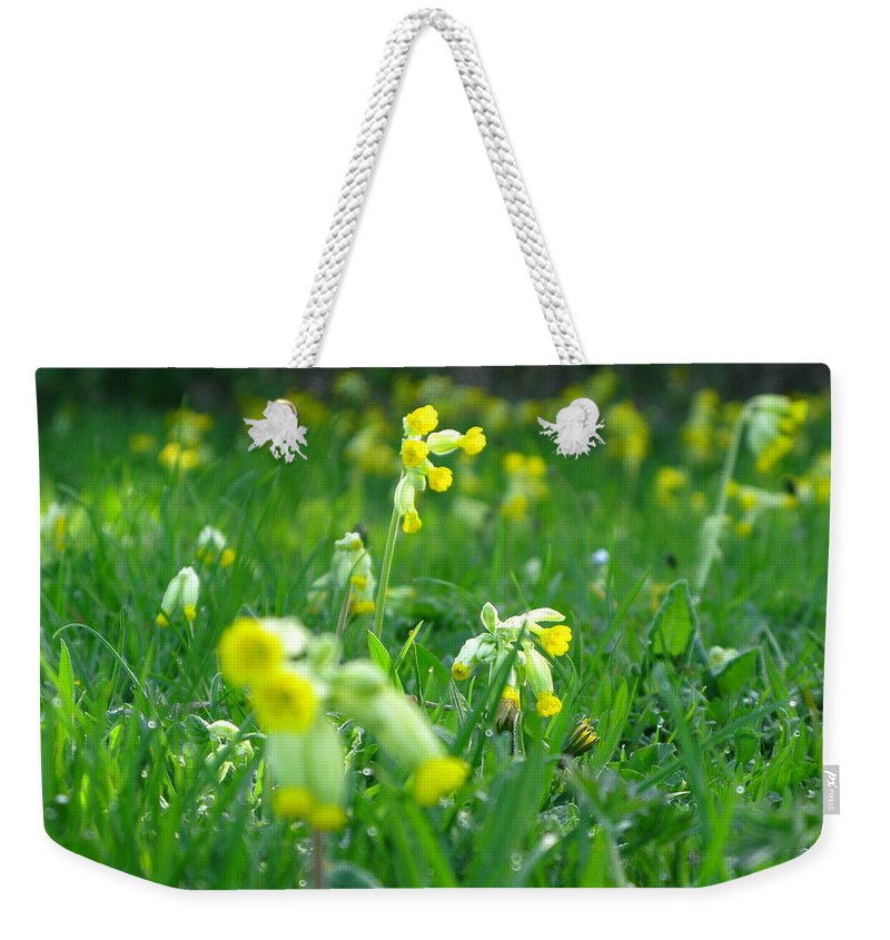 Cowslip Weekender Tote Bag featuring the photograph Cowslip Meadow by Maria Joy