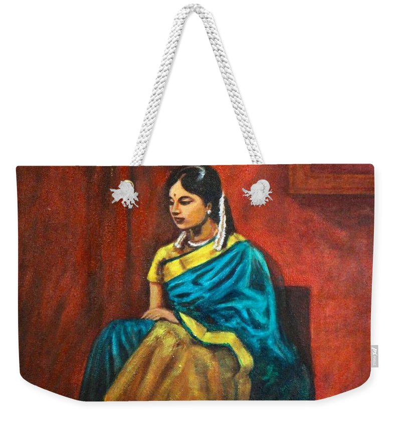 Coy Weekender Tote Bag featuring the painting Coy by Usha Shantharam
