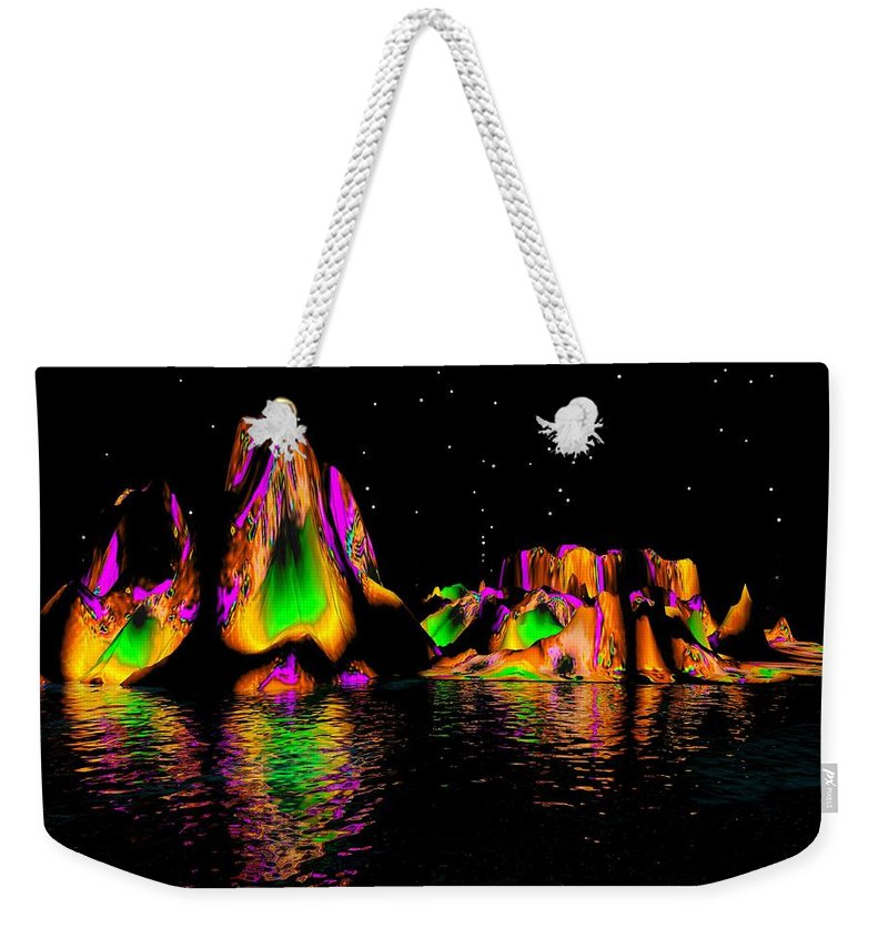Mountains Weekender Tote Bag featuring the digital art Coyote Moon by Robert Orinski